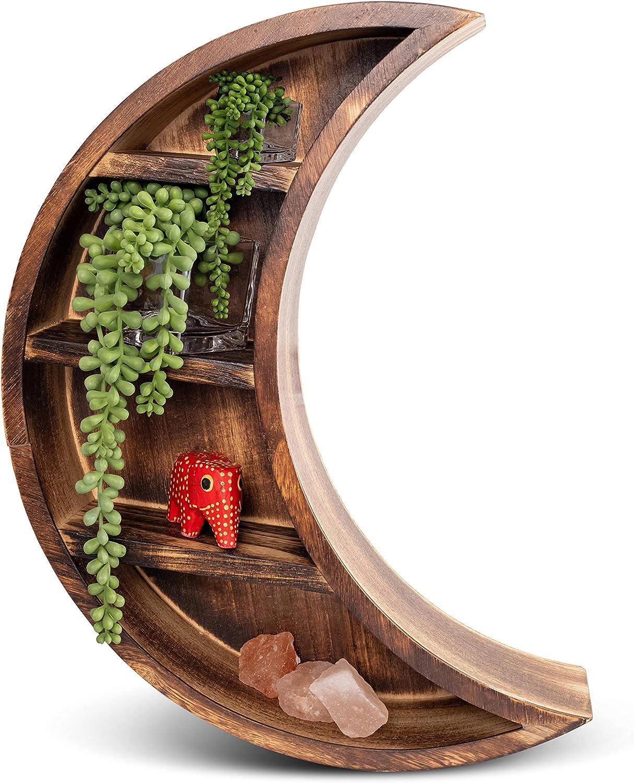 branchish Max 42% OFF It is very popular Wood Crescent Moon Shelf Display Crystal Decor Wall