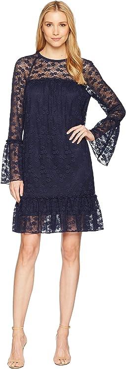 Long Sleeve Lace Ruffle Dress