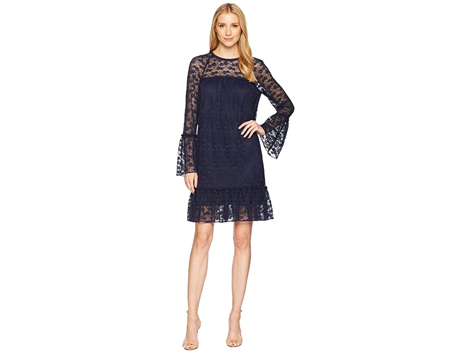 MICHAEL Michael Kors Long Sleeve Lace Ruffle Dress (True Navy) Women