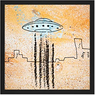 UFO Flying Saucer City Abstract Illustration Square Wooden Framed Wall Art Print Picture 16X16 Inch 飛行シティ抽象図木材壁画像