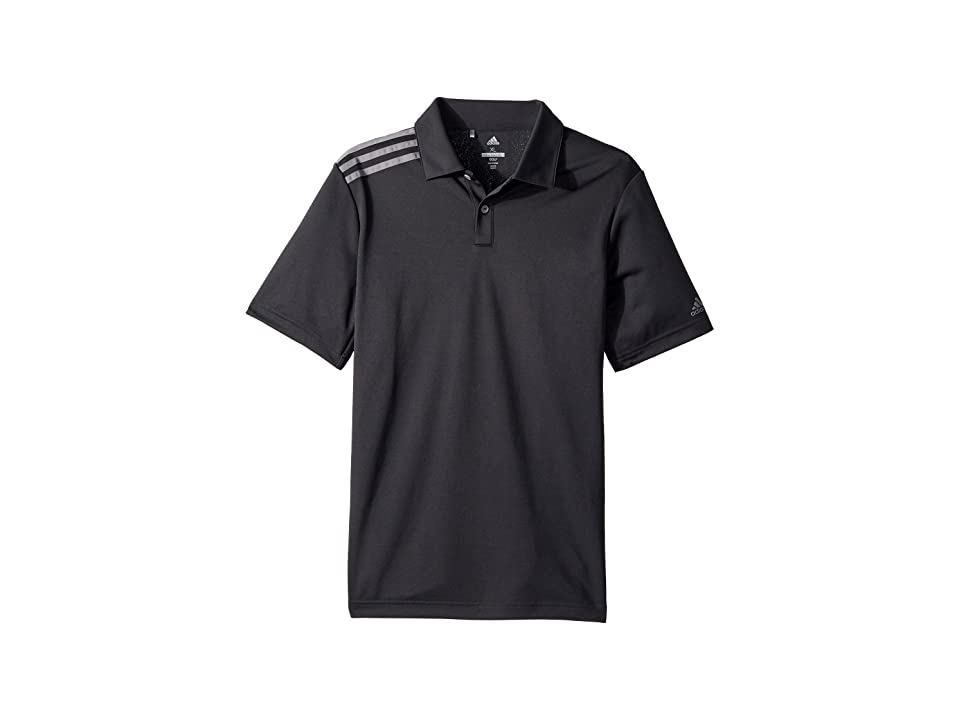 Image of adidas Golf Kids 3 Stripe Polo (Big Kids) (Carbon) Boy's Short Sleeve Pullover