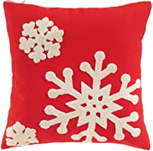 Vaulia Decorate Square Throw Pillow Cover, Snowflake Embroidery Pattern for Christmas Decorations -100% Cotton, Red/White (18x18 in.)