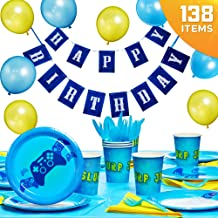 TryFecta Video Game Party Supplies 138 Pieces, Gamer Birthday Party Decorations for Boys with Disposable Plates, Cups, Cutlery, Banner and Games Themed Table Cover and Latex Balloons, Serves 16 Kids