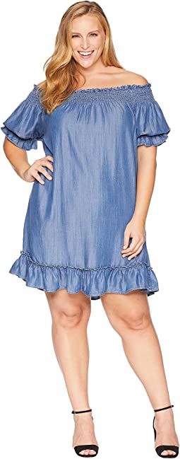 Plus Size Liana Off the Shoulder Ruffle Dress