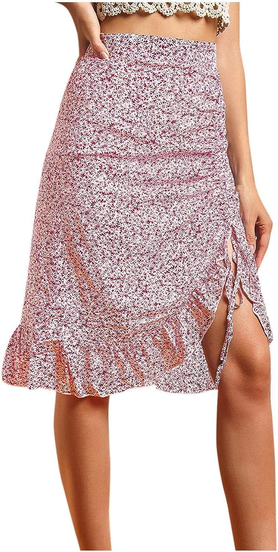 Flower Print Skirts for Women Ruffle Hem High Low Split A Line Midi Wrap Skirt Slim Fashion High Waist Casual Skirt
