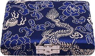 Oboe Reed Case Blue Wooden Silk Oboe Reed Case Holder Box Protector for 6pcs Oboe Reeds