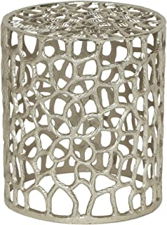 Alice Modern Iron Mesh Accent Table, Nickel Antique