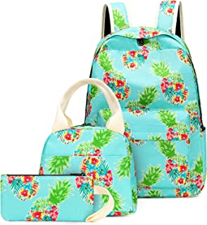 School Backpacks for Girls, BTOOP Backpack Pineapple Bookbags with Insulated Lunch Tote Kids Casual Daypack