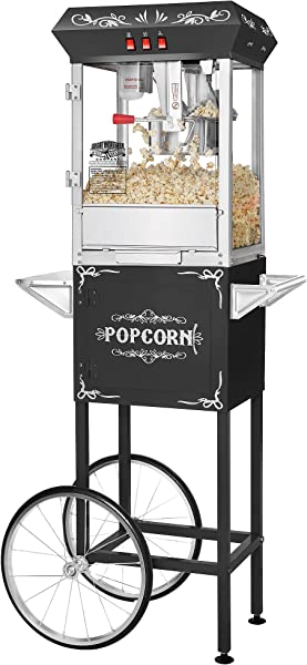 Great Northern Popcorn Black 8 Oz Ounce Foundation Vintage Style Popcorn Machine And Cart