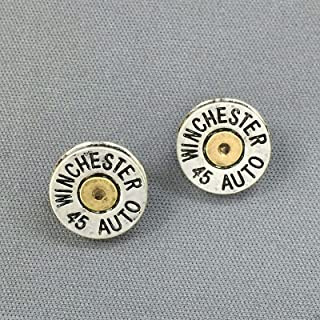 Antique Silver Gold Winchester 45 Auto Bullet Shell Design Stud Back Earrings Fashion Jewelry for Women Man