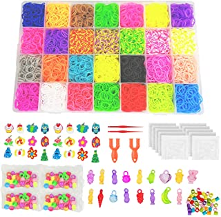 10790+ Rainbow Rubber Bands Refill Kit, 10,080+ Loom Bands, 500 S-Clips, 175 Beads, 34 Charms, 4 Tools to Bracelet Maker Making Kit for Kids by Miukada