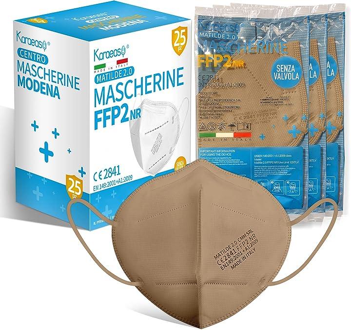 Mascherine ffp2 certificate ce made in italy confezione da 25 pezzi pfe filtraggio 95% beige karaeasy B091Z6C3LJ