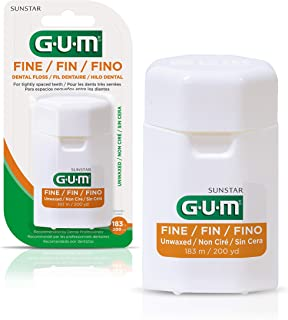 GUM - 540RYC6 Fine Unwaxed Dental Floss, Unflavored, 200 Yards (Pack of 6)