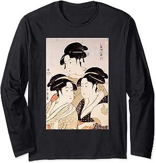 Utamaro Ukiyoe Japanese Art Three Bijin Long Sleeve T-Shirt