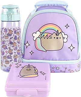 Pusheen Unicorn Lunchbox Purple Rainbow Lunch Bag Bottle and Snackpot Set