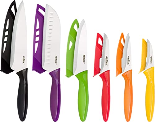 Zyliss 6 Piece Kitchen Knife Set with Sheath Covers, Stainless Steel 6 Piece Set 100 Multicolor