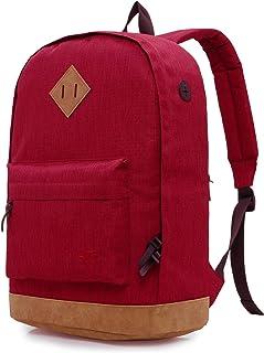 HotStyle 936Plus Wasserabweisender Rucksack Laptop Büchertasche für Schule, Hochschule, Uni, mit 12 Taschen, Maroon