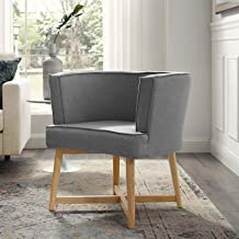 Modway Anders Upholstered Fabric Accent Chair, Light Gray