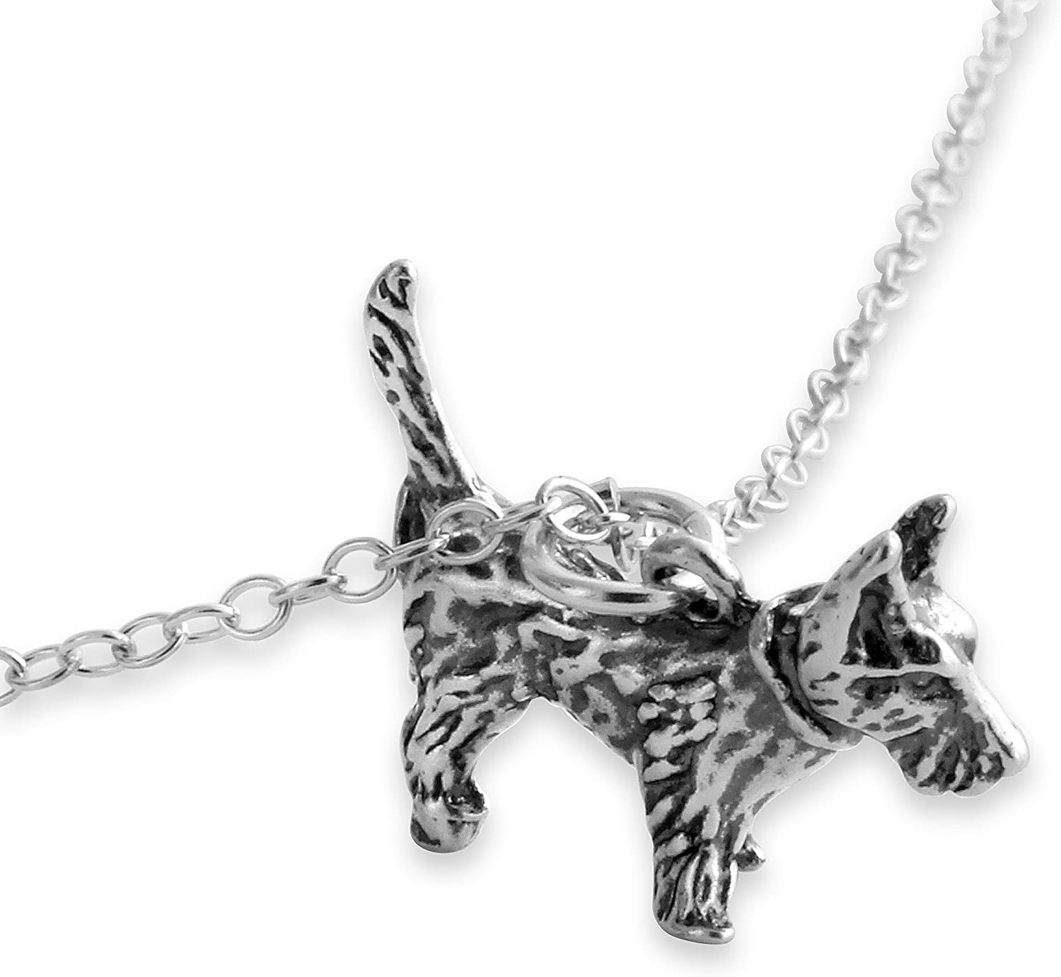 Belcho USA 925 Sterling Silver Solid Cute Terrier Dog Charm Pendant Necklace