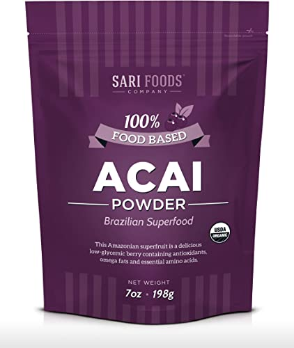 Organic Acai Powder (7 Ounce): Natural Freeze Dried Superfood, Non-Synthetic & Naturally Occurring Plant Based Nutrition, Antioxidants, Omega Fatty Acids, Essential Amino Acids, Calcium, and Iron. product image