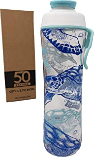 50 Strong BPA Free Gym Yoga Water Bottle with Ice Guard Flip Top Cap & Carry Loop - Cute Designer Prints - Perfect for Men,  Women,  Sports & Workout - Made in USA