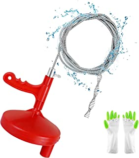 Plumbing Snake Drain Auger Sink Auger Hair Clog Remover 25 Foot, Heavy Duty Pipe Snake for Bathtub Drain, Bathroom Sink, Kitchen and Shower, Snake Drain Cleaner Comes with Gloves
