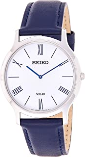 Seiko Unisex-Adult Solar Powered Watch, Analog Display and Leather Strap SUP857P1