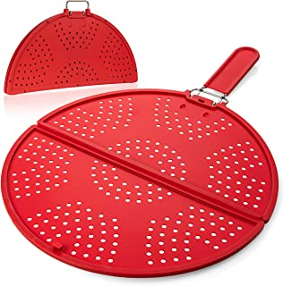 Splatter Screen for Frying Pan 11 3/4-Inch - Grease Splatter Guard - Foldable Splatter Screen Strainer - Bacon Silicone Sp...