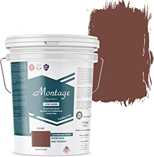 Montage Signature Interior/Exterior Eco-Friendly Paint, Brick Red, Low Sheen, 5 Gallon