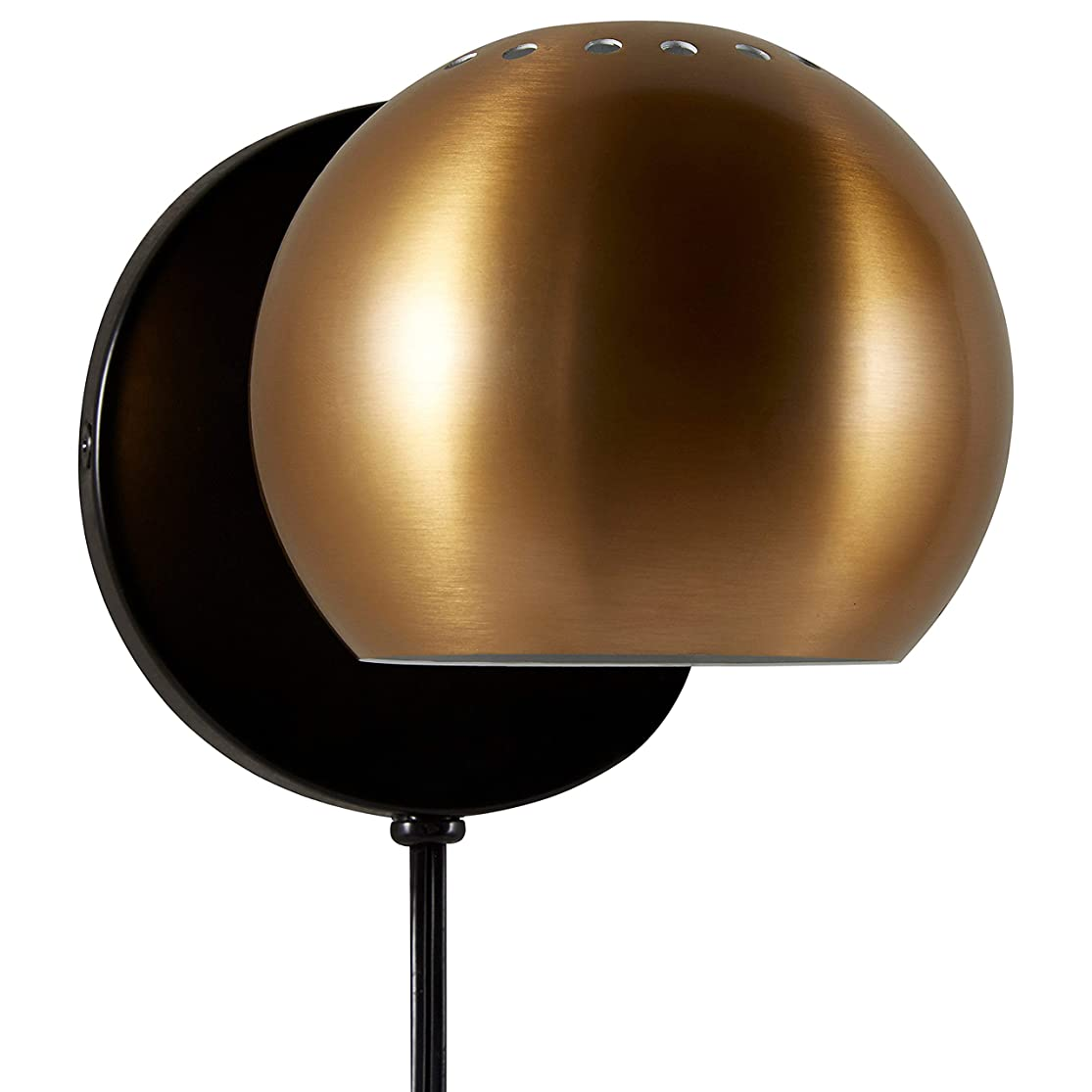 Rivet Mid Century Modern Wall Mounted Sconce Light Fixture Reading Lamp - 5 x 5 x 7 Inches, Gold havragtk4