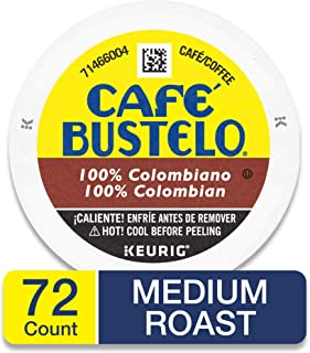 Café Bustelo 100% Colombian Medium Roast Coffee, 72 K Cups for Keurig Makers