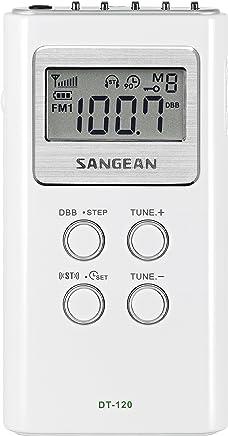Sangean DT-120 - Radio (pantalla LCD, 120 W, 1.5 V), blanco