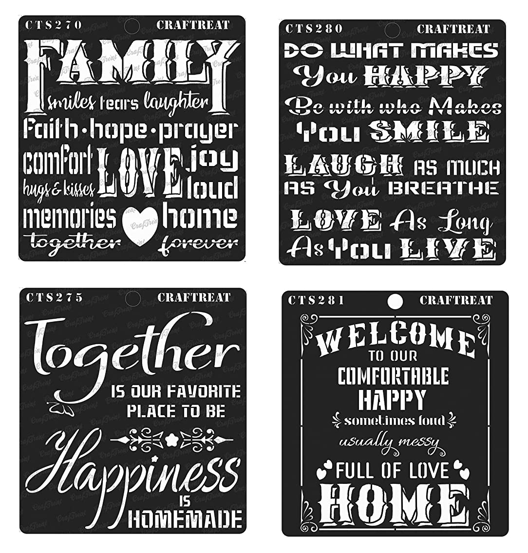 CrafTreat Stencil - Family, Happy Together, Happy Smile & Welcome Home (4 pcs) | Reusable Painting Template for Home Decor, Crafting, DIY Albums and Printing on Paper, Wall Tile, Fabric, Wood 6