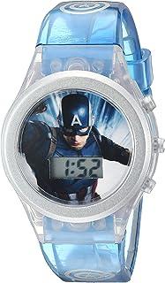 Marvel Quartz Watch with Silicone Strap, Blue, 19.5 (Model: CAM3047)