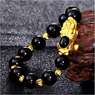 Feng Shui富の富はゴールドのピクジウ/ピヤオアムレの瑪瑙の繁栄の宝石隊を魅了するラッキーなお金の愛のギフトバングルを引き付ける女性/女の子、赤 SUCICI (色 : Black)