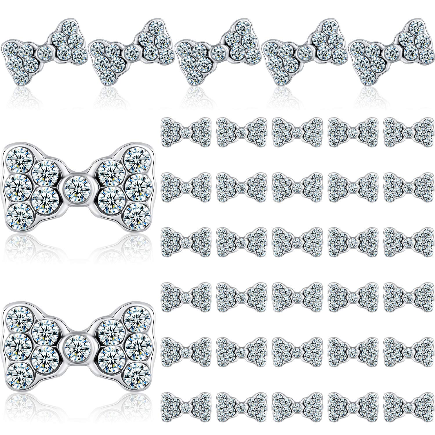 40 Pieces 3D Bow Nail Charms Design Max 79% OFF Rhin Tie Art Slices Minneapolis Mall