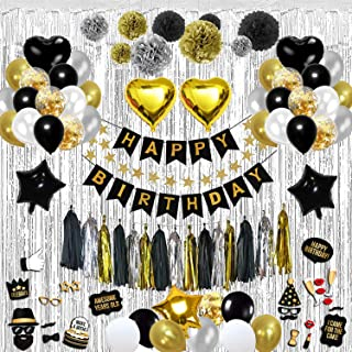 Birthday Decorations Party Kit – Over 100-Piece Black and Gold Party Decorations Set – Includes Wall Curtain,Balloons, Foil Tassels, Photo Props Set, Pom Poms, Happy Birthday Banner – Durable