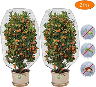 Alpurple Insect Bird Barrier Netting Mesh with Drawstring - Garden Bug Netting Plant Cover for Protect Plant Fruits Flower from Insect Bird Eating (Large 2 PCS)