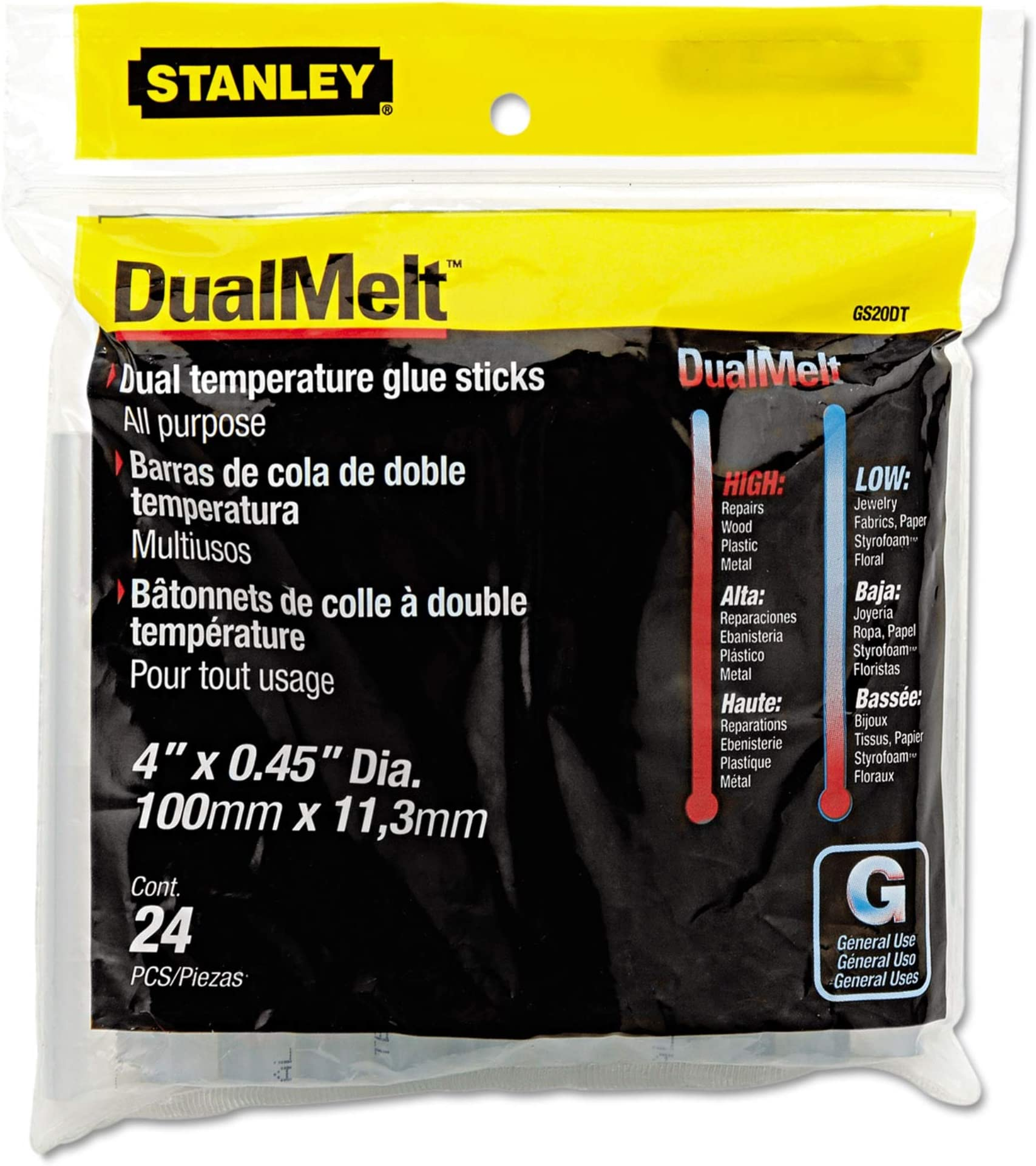 Stanley Dual Temperature Glue Sticks, 4 inch Long, Clear, 24/Pack