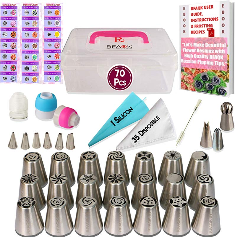 70 PCs Russian Piping Tips Set With Instructions Storage Case Frosting Pastry Bags 30 Numbered Cake Decorating Tips 28 Russian 8 Icing 1Ball Tip Baking Tools Supplies Kit Pattern Chart EBook