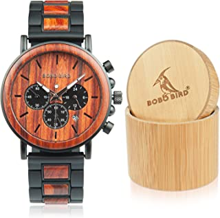 Men's Casual Wrist Watch, Wood & Stainless Steel Watch with Luminous Pointers, Classic Analog Watches with Gift Box