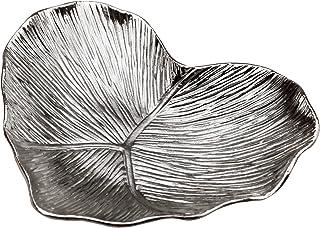 علبة مجوهرات على شكل قلب كهدية كهدية | للديكور المنزلي والمجوهرات والإكسسوارات الصغيرة (فضي / 4.5 بوصة × 3.7 بوصة × 0.7 بوصة)
