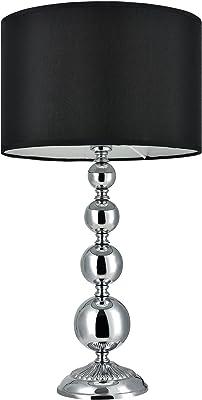 [lux.pro] Lampe de Table 'San Francisco' Lampe de Chevet Lampe de Bureau Liseuse Métal et Tissu Chrome et Noir 1 x E14 51 cm x Ø 29 cm
