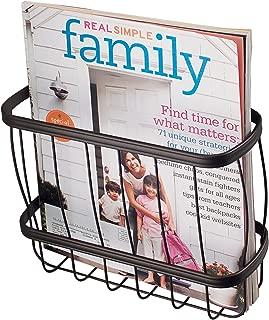 iDesign York Lyra Over-the-Tank Hanging Metal Bathroom Newspaper and Magazine Holder Basket/Rack - Bronze Steel