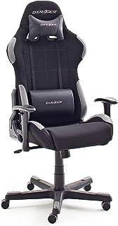 Dxracer Racer 5 - Sedia da gioco/ufficio/scrivania, con Ruote, Regolabile in Altezza, Nero/Grigio, 78 x 52 x 124-134 cm