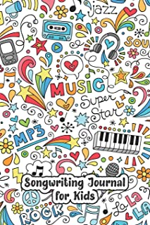 Songwriting Journal for Kids: Cute graphics music notebook for kids and tweens with blank lined pages for writing lyrics a...