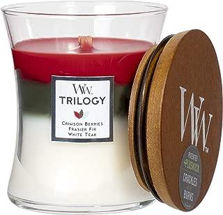 WoodWick Trilogy Winter Garland - Crimson Berries, Frasier Fir, White Teak Scented Hourglass Crackling Wooden Wick Candle in Clear Glass Jar, Medium - 9.7 Oz