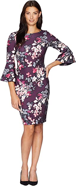 Floral Bell Sleeve Sheath Dress CD8C55WN