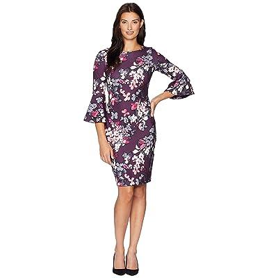 Calvin Klein Floral Bell Sleeve Sheath Dress CD8C55WN (Aubergine Multi) Women