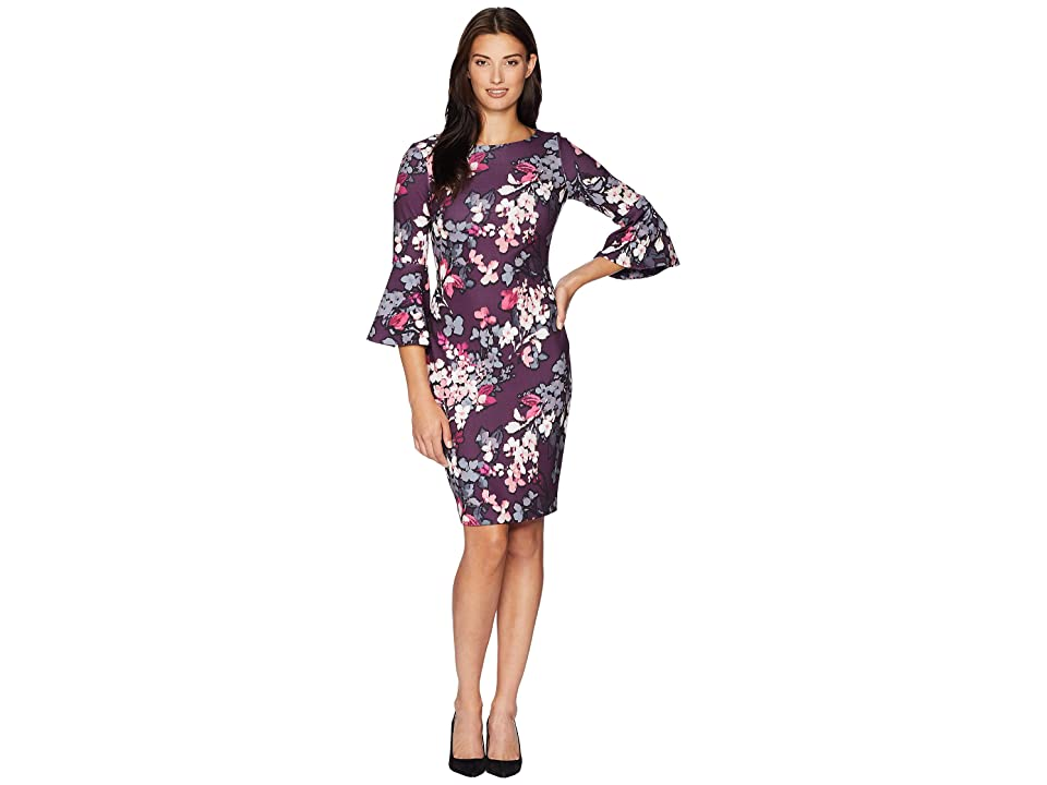 Calvin Klein Floral Bell Sleeve Sheath Dress CD8C55WN (Aubergine Multi) Women